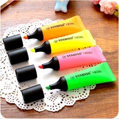 4 pçs/lote STABILO Neon Fluorescente Marcador Toothpaste Oblíqua Material Escolar Escritório Papelaria Esferográfica Highlighter
