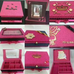 Porta biju ou maquiagem  Pink com preto