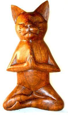 Meditating Yoga Kitty Statue Hand Painted Carved Wood Praying Cat Kitten Siamese