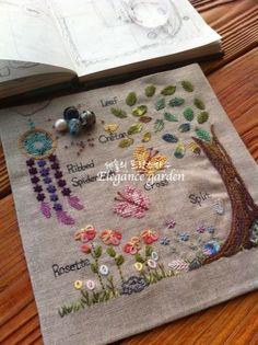 프랑스자수 배우기 - 스티치북2.0 by 숄 (3) 새로운 스티치북 디자인이 나왔습니다. 포멧도 조금 바꾸고, ... Embroidery Sampler, Hand Embroidery Stitches, Embroidery Designs, Stitch Book, Cross Stitch, Fabric Journals, Leather Art, Japanese Embroidery, Textiles