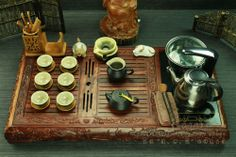 Asian Chinese sandal wood tea tray collection tea set with electrical induction