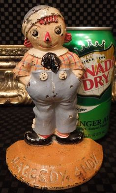 RARE Volland Raggedy Andy Boy Antique Cast Iron Bookend or Child Doorstop No Ann #Americana #Volland