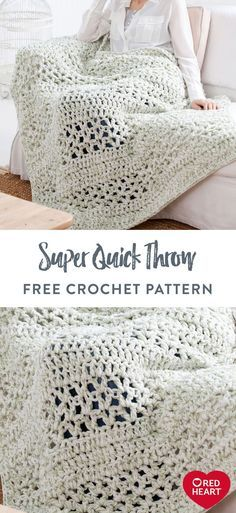 Quick Crochet Blanket, Crochet Throw Pattern, Afghan Crochet Patterns, Knit Or Crochet, Crochet Crafts, Crochet Stitches, Crochet Baby, Crochet Projects, Knitting Patterns