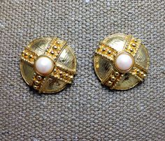 Vintage Earrings 1980's Gold Pearl Jewelry Retro Modern Button