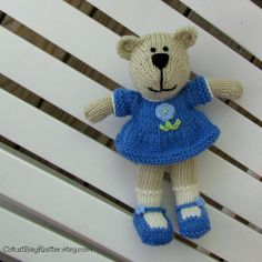Hand Knitted Bear  Stuffed Animal Toy  Stuffed by cotuitbayknitter