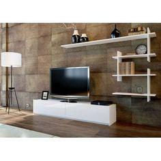 Meuble TV avec étagère Ahenk - Blanc