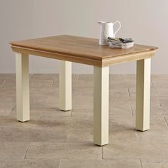 Country Cottage Natural Oak and Painted 4ft Dining Table