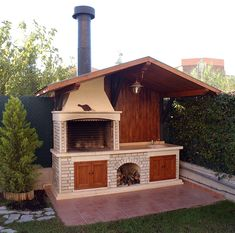 Backyard Kitchen, Summer Kitchen, Backyard Patio, Rustic Kitchen Design, Outdoor Kitchen Design, Parrilla Exterior, Brick Grill, Built In Braai, Outdoor Island