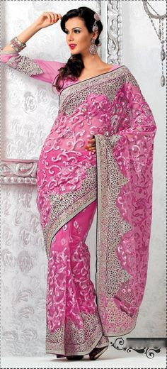 Exotic Pink Embroidered Saree Item Code: VI23175 Color: Pink Fabric: Net Work: Lace, Resham, Sequins £69.42