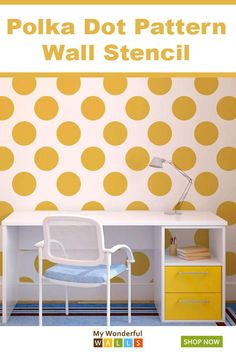 Painting polka dots on the wall has never been easier! This polka dot pattern wa. Painting polka d Polka Dot Room, Polka Dot Walls, Polka Dots, Stencil Painting On Walls, Painting Of Girl, Girl Room, Girls Bedroom, Baby Room, Bedrooms