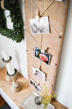 Rustic DIY Photo Display with Air Dry Clay – DIY Passion Rustikales DIY-Foto-Display mit lufttrockenem Ton Frame Crafts, Diy Crafts, Wood Crafts, Photo Projects, Diy Projects, Wooden Alphabet Blocks, Diy Foto, Ideias Diy, Hanging Pictures