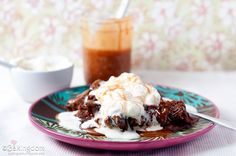 Chocolate Bread Pudding with Salted Caramel Sauce and Fresh Whipped Cream