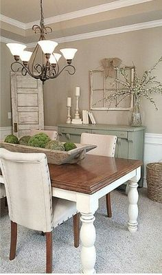 Exciting Modern Farmhouse Dining Room Decor Ideas – Home Decor Ideas Sweet Home, European Home Decor, Dining Room Design, Dining Area, Dinning Room Paint Ideas, Dining Room Ideas On A Budget, Dinning Room Table Decor, Shabby Chic Dining Room, Small Dining