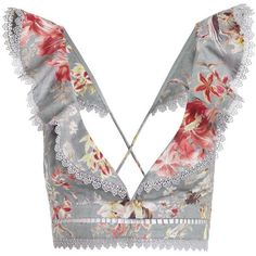 ZIMMERMANN Mercer Flutter Frill Top (£180) ❤ liked on Polyvore featuring tops, crop top, shirts, crop, blouses, swimming tops, swim shirts, floral tops, white crop top and floral crop tops