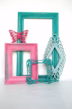 TEAL PINK FRAMES Set of 5- Upcycled Painted Ornate Frames With Burwood Butterfly Girls Bedroom Or Nursery. $55.00, via Etsy.