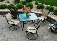 Savannah Outdoor Swivel Patio Dining Set - Seats 4 - Patio Dining Sets at Hayneedle, $626, steel