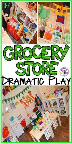 Grocery Store Dramatic Play for Preschool, Pre-k, and Kindergarten Grocery Store dramatic play! How to set it up and add literacy and math opportunities to the grocery store in your preschool, pre-k, and kindergarten classroom. Preschool Centers, Preschool Learning, Kindergarten Classroom, Preschool Activities, Preschool Calendar, Preschool Garden, Health Activities, Fall Preschool, Kindergarten Reading