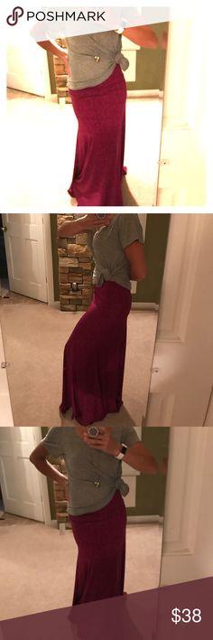 XXS LLR Maxi BNWT Beautiful XXS LLR Maxi. Can be worn as a skirt or a dress. Burgundy &Pink multicolor maxi. Very stretchy. lularoe Dresses Maxi