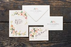 invitation idea. neutral colors. scripted watercolor fonts. floral designs.