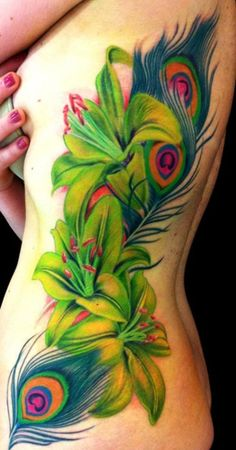 Peacock Feather and Lily Tattoo – 55 Peacock Tattoo Designs ♥ ♥ - Flower Tattoo Designs Jj Tattoos, Trendy Tattoos, Cute Tattoos, Beautiful Tattoos, Body Art Tattoos, Sleeve Tattoos, Tattoos For Women, Tatoos, Incredible Tattoos
