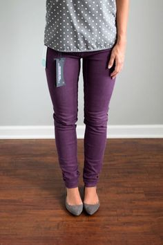 This whole outfit is amazing! The purple pants and grey polka dot blouse! Would need the flats to finish the outfit too