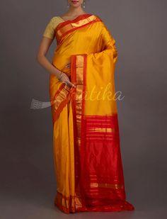 Adriti Rising Sun Bold Solid Gold Border Pure #NarayanpetSilkSaree