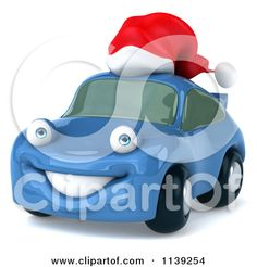 Clipart Of A 3d Blue Porsche Car Wearing A Santa Hat 2 - Royalty Free CGI Illustration by Julos