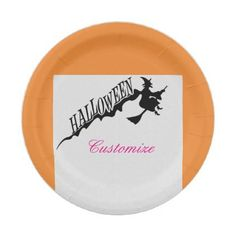 Scary Witch Riding Broom Halloween Thunder_Cove Paper Plate - Halloween happyhalloween festival party holiday