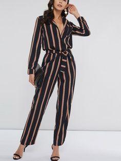 Stripe Full Length Lace-Up Slim Women s Jumpsuits. chicfr · Combinaison Mode 338458ee8f0