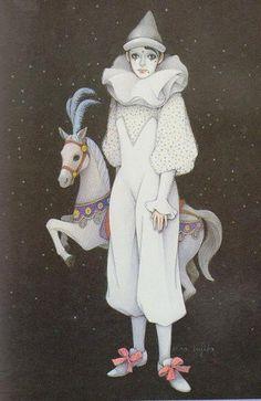 Feh Yes Vintage Manga Clown Mignon, Circus Aesthetic, Illustrations, Illustration Art, Clown Paintings, Pierrot Clown, Cute Clown, Vintage Clown, Horse Posters