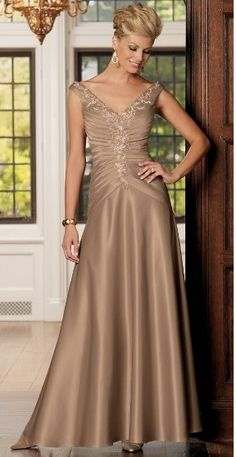 Long v-neck gold satin capped pleated embroidery A-line Mother Of The Bride Dress MBD257127