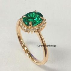 Oval Emerald Engagement Ring Diamond Halo 14K Rose Gold,6x8mm - Lord of Gem Rings - 5