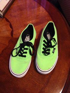 b9b5621131c3f7 Neon Green And black Vans Size 5 Black Vans