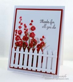 karten Hollyhocks Die and Stamp, Picket Fence, Tall Grass Buying Cycling Jerseys, Shoes And Other Bi Impression Obsession Cards, Die Cut Cards, Get Well Cards, Sympathy Cards, Cool Cards, Flower Cards, Creative Cards, Greeting Cards Handmade, Scrapbook Cards