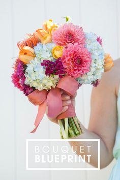 Bright pinks, vibrant oranges and glowing yellow petals paired with soft blue hydrangea -- learn more!