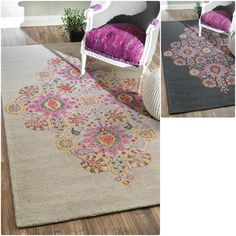 Would be nice for a girl's bedroom  nuLOOM Handmade Modern Medallion Wool Rug (5' x 8')
