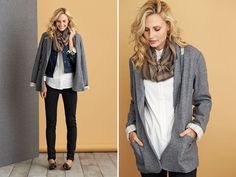 I want this grey blazer!!! Try a slouchy blazer layered with a denim vest or jacket to get a feminine yet tailored look.