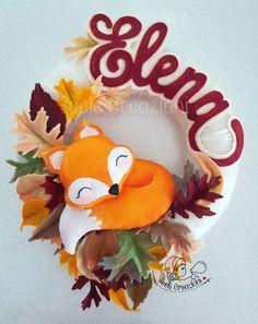 Fox Crafts, Baby Crafts, Diy And Crafts, Crafts For Kids, Felt Wreath, Felt Garland, Baby Decor, Kids Decor, Tarjetas Diy
