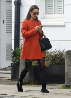 PippaMiddleton, 33, displayed her toned legs in a mini skirt as she ran errands in London...