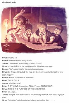 Sirius: WE DID IT! Sirius: oh Merlin! Remus: You've said this for. Harry Potter Comics, Harry Potter Anime, Harry Potter World, Mundo Harry Potter, Harry Potter Jokes, Harry Potter Fan Art, Harry Potter Universal, Slytherin, Hogwarts
