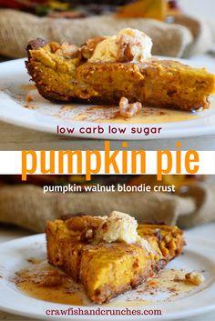 A healthy pumpkin pie recipe - low carb, low sugar and a super easy crust—using our Pumpkin Walnut Blondies!
