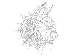 Line geometric cat tattoo design