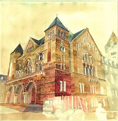 Vibrant watercolour depictions of European architecture by Maja Wronska.