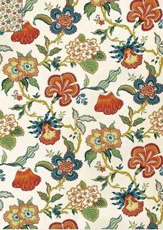 "100/% Cotton Fabric Greys /& Orange/'s Prestigious Sweet Pea Floral 54/"" Wide"