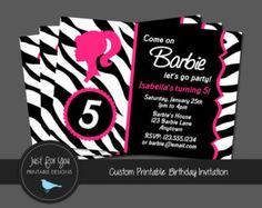 Printable Barbie Invitation - Vintage Retro - Zebra Print or Polka Dot - Hot Pink, Black, White - by Just For You Printable Designs Barbie Birthday Invitations, Printable Birthday Invitations, Barbie Theme, Barbie Party, Diamond Party, Vintage Invitations, Birthday Bash, Birthday Ideas, Printable Designs