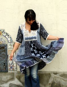 M-L India geborduurd Boheemse jurk tuniek top hippie door jamfashion