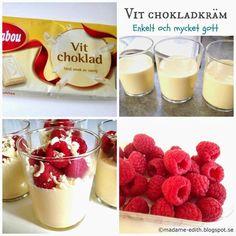 Vit chokladkräm - Enkel och mycket god dessert :) Tips! Kan förberedas dagen före servering om man önskar (4 port) Recept 150 g vit c...