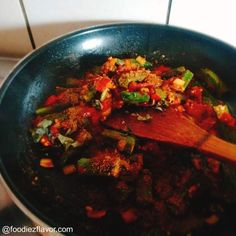 Punjabi Style Bhindi Masala Recipe Punjabi Style okra fry Recipe – Foodiezflavor.com Indian Food Recipes, Vegetarian Recipes, Ethnic Recipes, Bhindi Masala Recipe, Okra Fries, Ratatouille, Spicy, Beef, Style