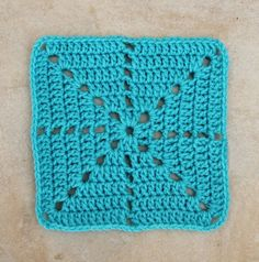 Simple Filet Crochet Starburst Square Pattern ...sew up a variety of these squares using left-over yarns, pretty soon you'll have enough to make a delightful blanket. #crochetsquares