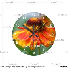 Soft Orange And Yellow Zinnia Flower Nature Round Clock.  From Smilin' Eyes Treasures at Zazzle.